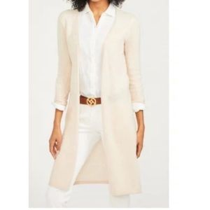 J.Mc Laughlin 100% Cashmere Cream Long Cardigan S